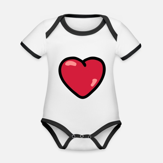 Heart Baby Clothes - Heart - Organic Contrast Baby Bodysuit white/black