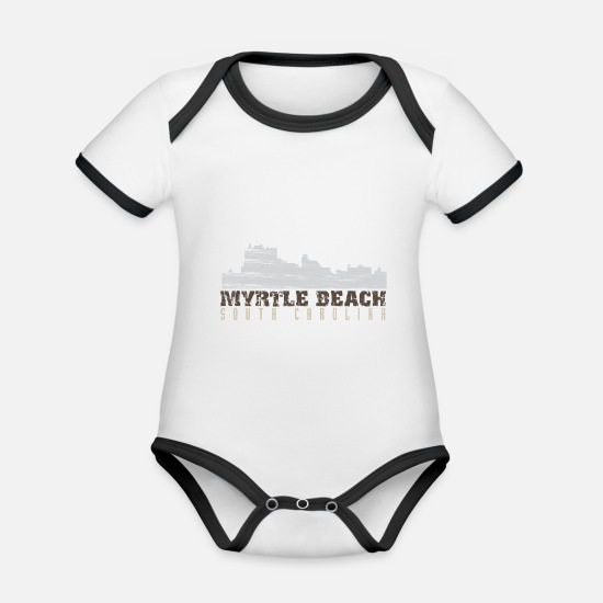 Beach Baby Clothes - Myrtle Beach South Carolina logo - Organic Contrast Baby Bodysuit white/black
