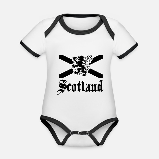 Scotland Baby Clothes - scotland - Organic Contrast Baby Bodysuit white/black