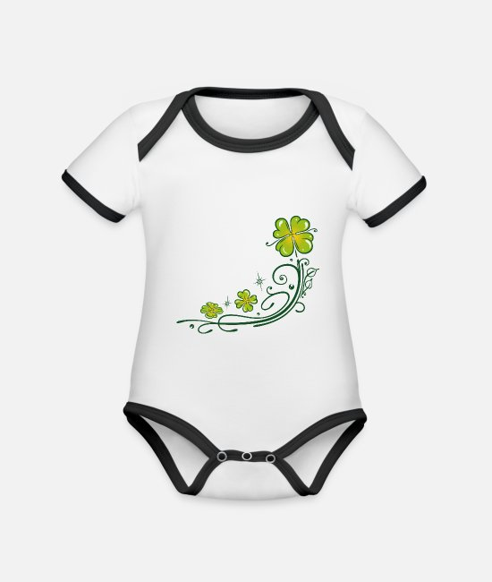 St Baby Clothes - St. Patricks Day. Four leaf clover. St Paddys Day. - Organic Contrast Baby Bodysuit white/black