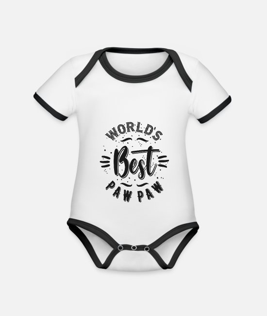 Father's Day Baby Bodysuits - World's Best Paw Paw - Organic Contrast Baby Bodysuit white/black