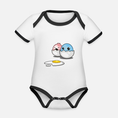 Two two little chicks with fried egg in shell - Organic Contrast Baby Bodysuit