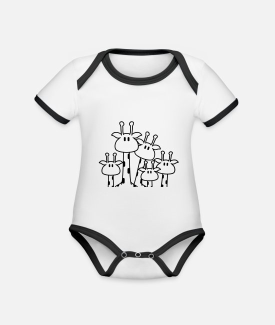 Small Baby Clothes - funny_giraffe_family - Organic Contrast Baby Bodysuit white/black