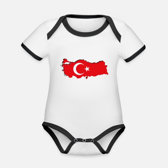 Symbol  Baby Clothes - Turkey flag in geographic form - Organic Contrast Baby Bodysuit white/black