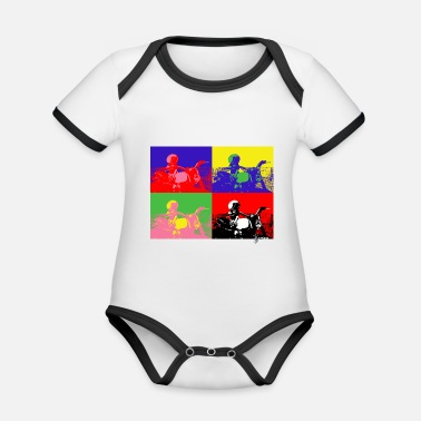 Motorcycle Angeland Pop Art 2 - Angeland Thrills - Organic Contrast Baby Bodysuit