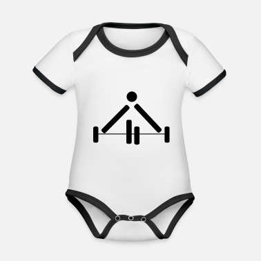 Power Lifting Weightlifting Power Lifting Pictograph Dumbbell - Organic Contrast Baby Bodysuit