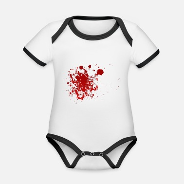 Blood Splatter Blood splatter splatter Halloween blood spatter - Organic Contrast Baby Bodysuit