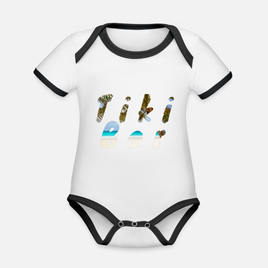 Alcohol Baby Clothes - Tiki bar - Organic Contrast Baby Bodysuit white/black