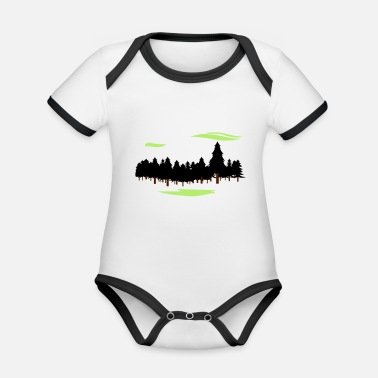 Forest Forest Forest - Organic Contrast Baby Bodysuit