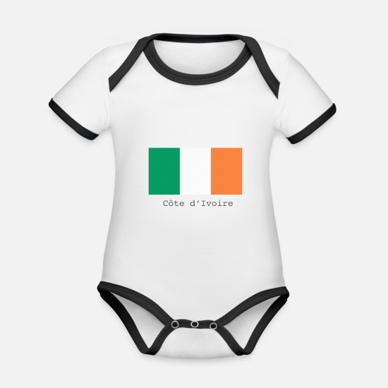 Country Baby Clothes - Ivory Coast - Organic Contrast Baby Bodysuit white/black