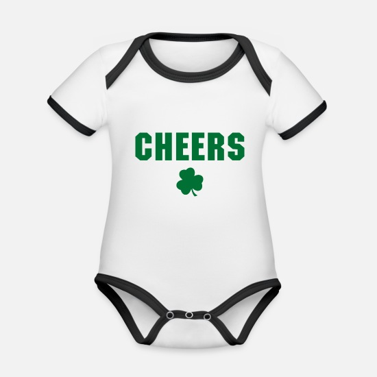 St Patricks Day Baby Clothes - Cheers - Organic Contrast Baby Bodysuit white/black
