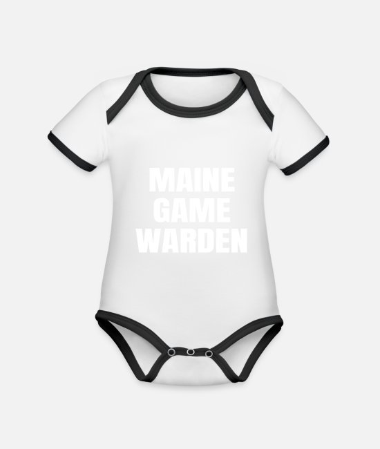 Gamekeeper Baby Bodysuits - Maine Game Warden ME Conservation Officer Gift - Organic Contrast Baby Bodysuit white/black