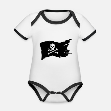 Pirate Flag Pirate Flag Skull Pirate - Organic Contrast Baby Bodysuit