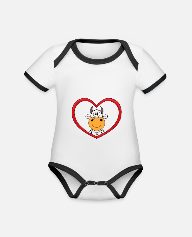 Heart Baby Bodysuits - Cow - heart - farm - farmer - love - Organic Contrast Baby Bodysuit white/black