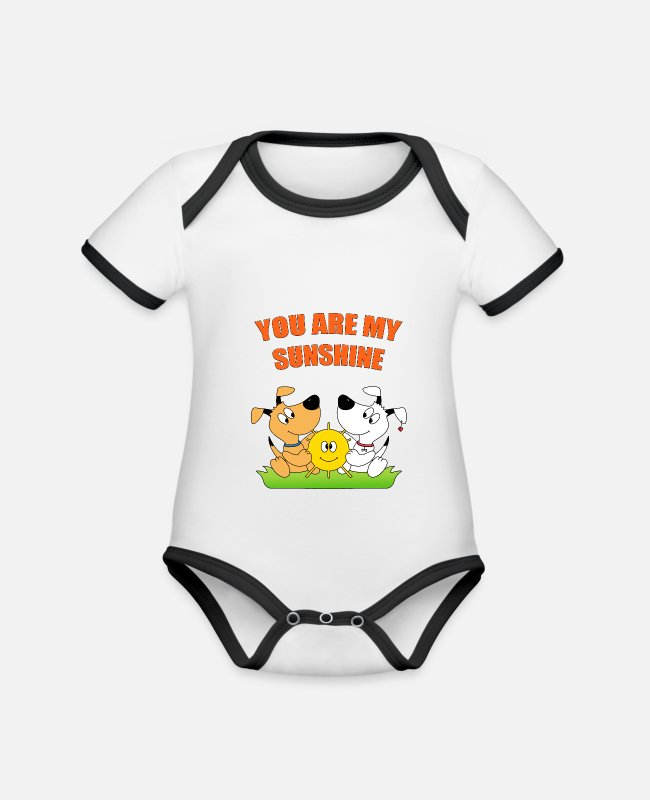 Heart Baby Bodysuits - Dogs - sun - love - you are my sunshine - Organic Contrast Baby Bodysuit white/black