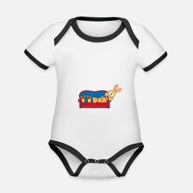 Fried Egg Bunny - sofa - carrots - Organic Contrast Baby Bodysuit