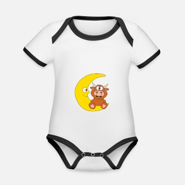 Rectangle Funny bull - cow - bull - cattle - moon - Organic Contrast Baby Bodysuit