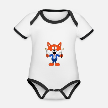 Trend Funny fox - magician - magician - magic - fun - Organic Contrast Baby Bodysuit