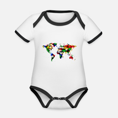 World map of the world world map - Organic Contrast Baby Bodysuit