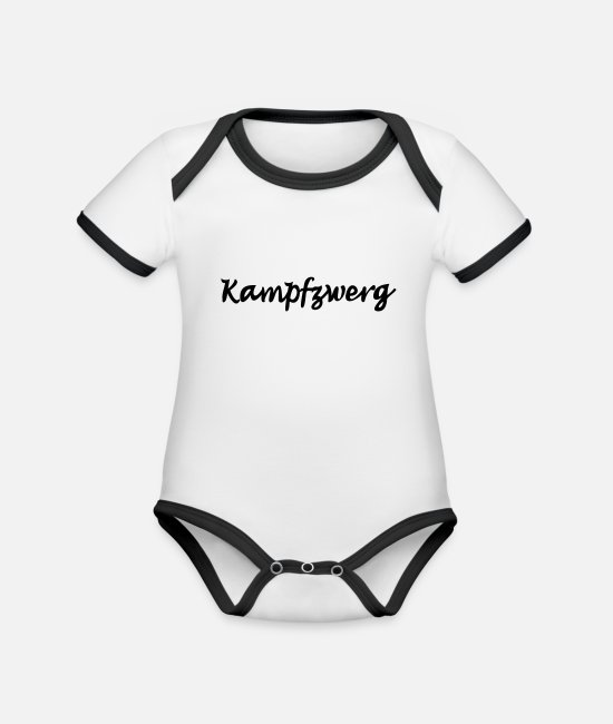 Name Baby Clothes - battle dwarf - Organic Contrast Baby Bodysuit white/black