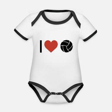 Sport I heart volleyball sport - Organic Contrast Baby Bodysuit