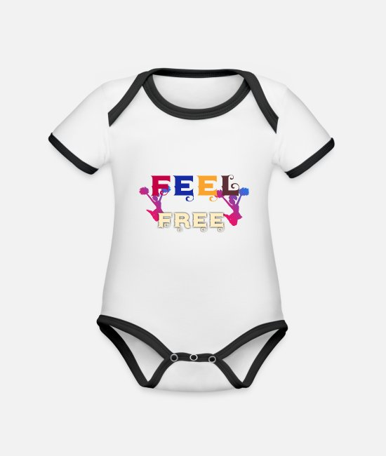 Mood Baby Bodysuits - Feel Free - cheerleader design - Organic Contrast Baby Bodysuit white/black