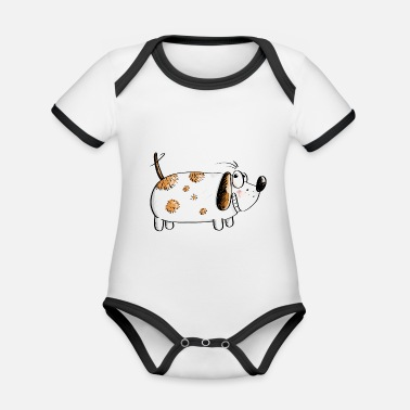 Fat Funny Dog - Dogs Comic - Organic Baby Contrasting Bodysuit
