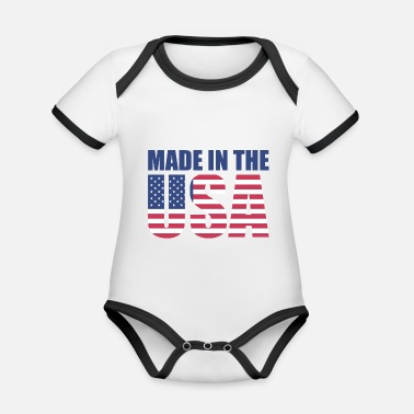 Usa USA America Flag Stars and Stripes Made in USA - Organic Baby Contrasting Bodysuit
