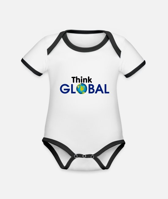 Concept Baby Bodysuits - Think Global / global - Organic Contrast Baby Bodysuit white/black