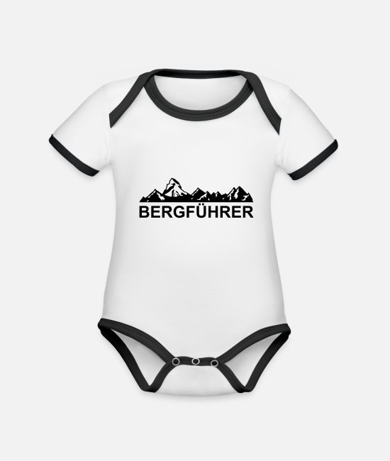 Mountains Baby Clothes - mountain guide - Organic Contrast Baby Bodysuit white/black