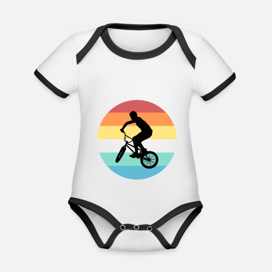Bicycle Baby Clothes - BMX - Organic Contrast Baby Bodysuit white/black