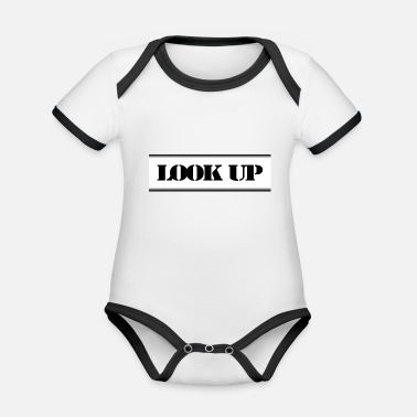 Counter Strike Simple LOOK UP saying in black and white - Organic Baby Contrasting Bodysuit