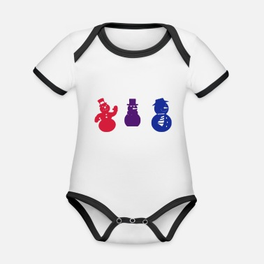 Multi Coloured Christmas snowman Multi coloured - Organic Contrast Baby Bodysuit