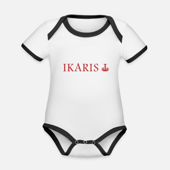 Information Baby Clothes - Ikaris logo and text review - Organic Contrast Baby Bodysuit white/black