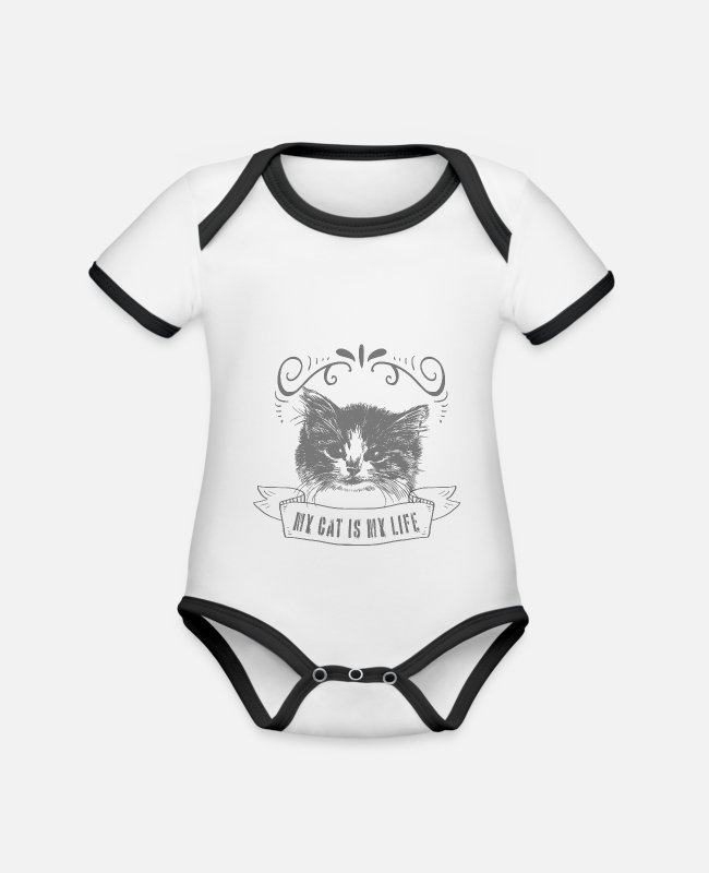 Catlike Baby Bodysuits - Cat cats domestic cat - Organic Contrast Baby Bodysuit white/black