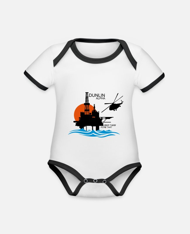Office Baby Bodysuits - Dunlin Alpha Oil Rig Platform North Sea Aberdeen - Organic Contrast Baby Bodysuit white/black