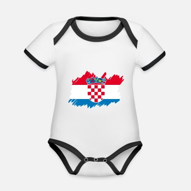 Patriot Croatia National Flag - brush diagonal - Baby Bio Kurzarmbody zweifarbig