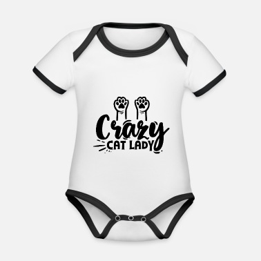 Crazy Cat Lady Crazy cat lady - Organic Contrast Baby Bodysuit