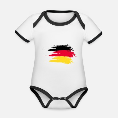 Smudge Germany smudge flag - Organic Contrast Baby Bodysuit