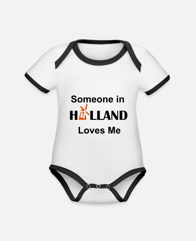 Houden Baby bodies - someone in holland loves me - Rompertje tweekleurig wit/zwart