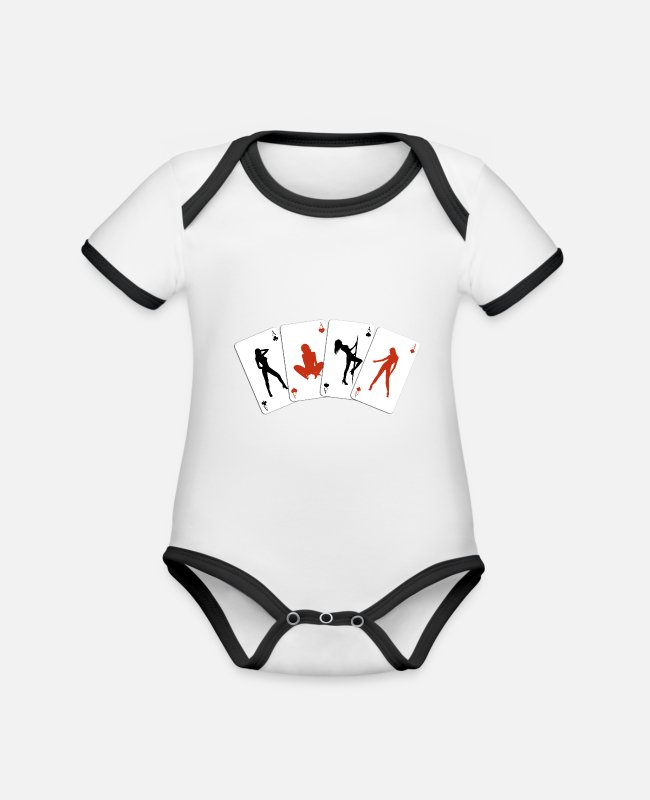 Ass Baby Bodysuits - Sexy poker - Organic Contrast Baby Bodysuit white/black