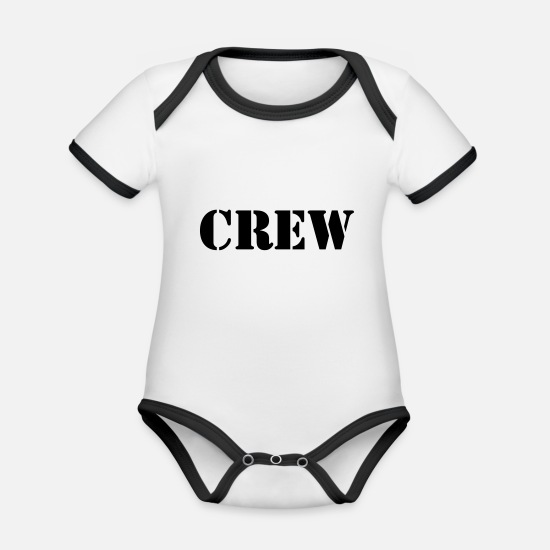 Man Baby Clothes - Crew - Organic Contrast Baby Bodysuit white/black