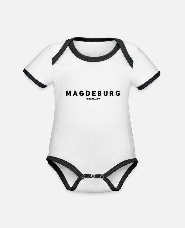 New German States Baby Bodysuits - Magdeburg - Organic Contrast Baby Bodysuit white/black