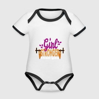 My girlfriend is stronger than you - Organic Baby Contrasting Bodysuit