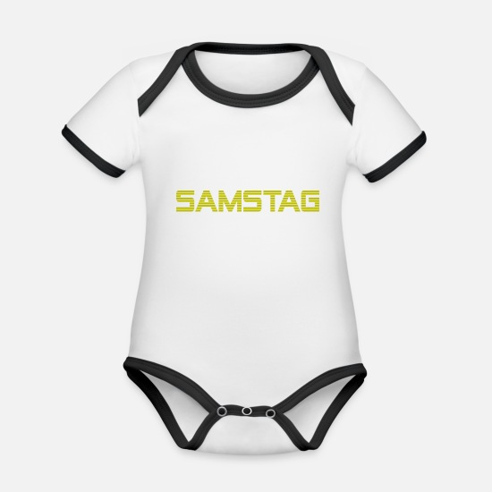 Lettering Baby Clothes - Saturday - Organic Contrast Baby Bodysuit white/black