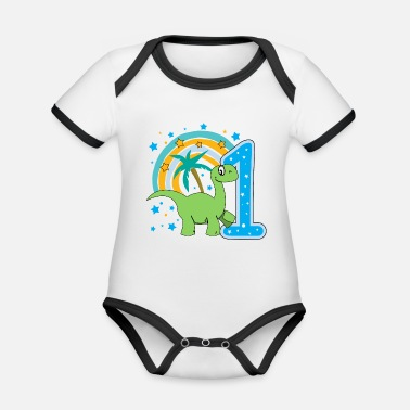 One Birthday first birthday 1st birthday one year gift - Organic Contrast Baby Bodysuit