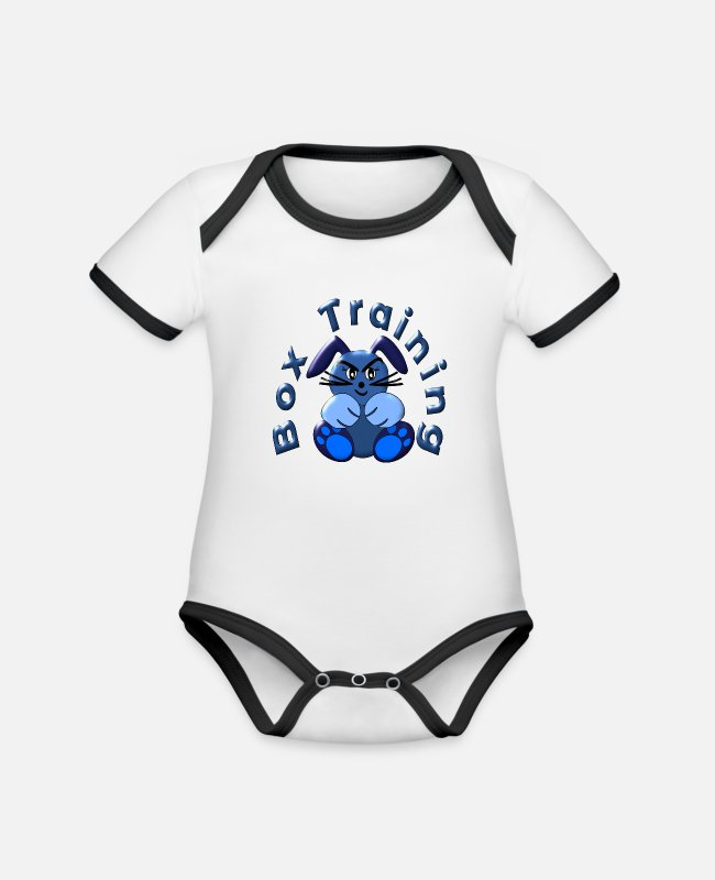 Rabbits Baby Bodysuits - BOX SPORTS BOXING TRAINING EASTER GIFTS BUNNY BUNNIES - Organic Contrast Baby Bodysuit white/black