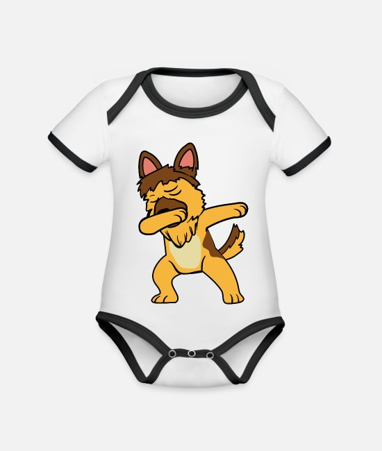 Pet Baby Clothes - Dabbing Dab German Shepherd dog dancing - Organic Contrast Baby Bodysuit white/black