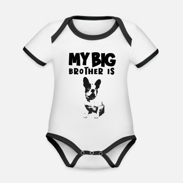 Bio Baby Body My Big Brother Is A Frenchie - Rompertje tweekleurig