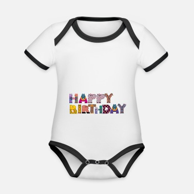 Happy Birthday happy birthday - Baby contrasterend bio-rompertje met korte mouwen